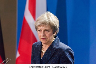 Berlin, Germany. 16th February, 2018: Theresa May at the german chancellery  (press conference) listening to a question