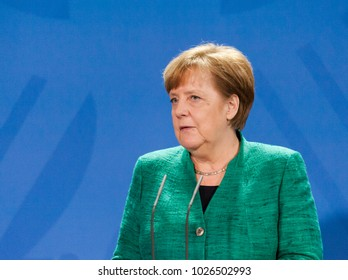 Berlin, Germany. 16th February, 2018: German chancellor Angela Merkel at the german chancellery  (press conference) answering a question