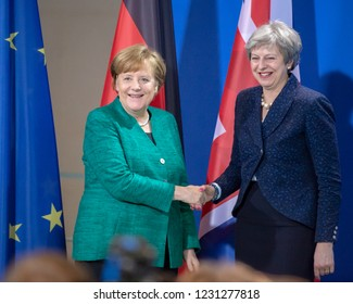 Berlin, Germany, 16th February, 2018: Angela Merkel and Theresa May pose for the photographers after the press conference at the German Chancellery