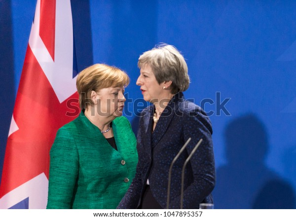 Berlin, Germany. 16th February, 2018: German chancellor Angela Merkel and Theresa May, prime minister of Great Britain at the german chancellery getting ready to pose for the photographers