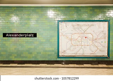 Berlin, Germany - 17 June 2012: View of the Alexanderplatz U-Bahn station platform, along with the Berlin city railway map.