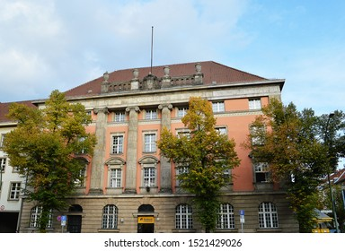 BERLIN, GERMANY - 18 SEPTEMBER 2019  The neo-classical post office in Tempelhof was begun in 1915 by architect Otto Spalding and completed in 1917 at a cost in current terms of 1.6 million euro.
