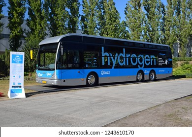 Berlin, Germany - 18th September, 2018: Van Hool A330 Fuel Cell hydrogen bus on the exposition point.