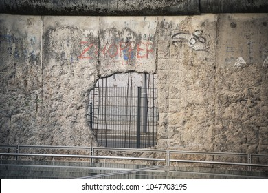 Berlin, Germany, 19.02.2018. Remains of the well known Berlin-wall, a historical monument of the time of cold war and a tourist attraction nowadays.