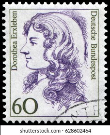 Berlin, Germany - 1986: Dorothea Christiane Erxleben (1715-1762), first female medical doctor in Germany. Stamp issued by German Post during 1986-91.