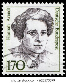 Berlin, Germany - 1986: Johanna Hannah Arendt (1906-1975), German-born Jewish American political theorist and philosopher. Stamp issued by German Post during 1986-91.