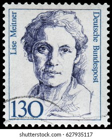 Berlin, Germany - 1986: Lise Meitner (1878-1968), Austrian-Swedish physicist of radioactivity and nuclear physics, discovered nuclear fission of uranium. Stamp issued by German Post during 1986-91.