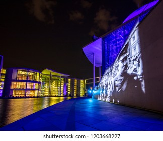 Berlin, Germany; 19th August 2018; Marie Elisabeth Luders Haus, Paul Lobe Haus and Reichstag by River Spree