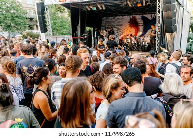 BERLIN, GERMANY - 20 MAY 2018: Crowd of people at a open air concert