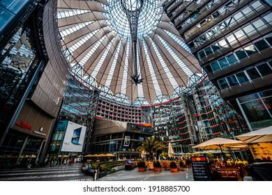 Berlin, Germany - 20 September 2019: Inside architecture of berlin Sony center in Germany