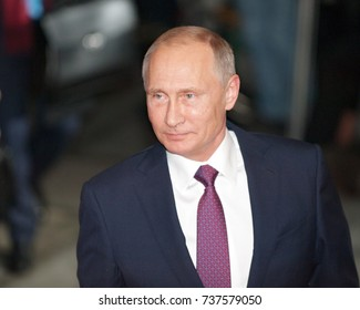 Berlin, Germany, 2016-10-19: The President from Russia, Vladimir Putin arrives at the German Chancellery