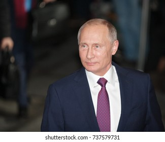 Berlin, Germany, 2016-10-19: The President from Russia, Vladimir Putin arrives at the German Chancellery early in the evening