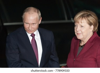Berlin, Germany - 2016-10-19: Vladimir Putin, the President of Russian Federation visits the German Chancellor Angela Merkel