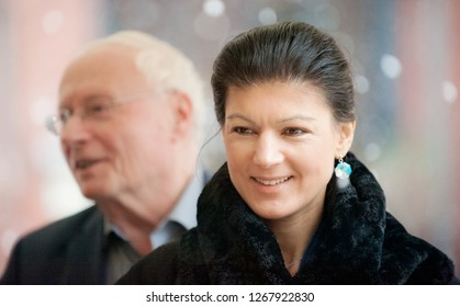 Berlin, Germany, 2017-01-14: Sahra Wagenknecht faction leader of the left party and her husband, Oscar Lafontaine arrive at the party meeting in Berlin
