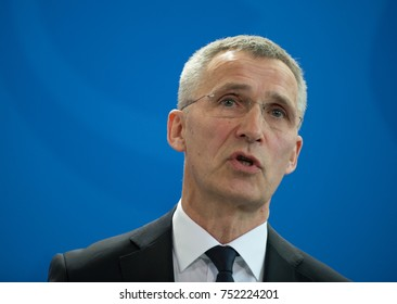 Berlin, Germany, 2017-02-08: Jens Stoltenberg, 13th Secretary General of the NATO speaks at the German Chancellery