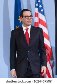 Berlin, Germany, 2017-03-16: Steven Mnuchin, secretary of the treasury of the cabinet Donald Trump, visits Germany for intergovernmental discussions with his german colleague, Wolfgang Schaeuble