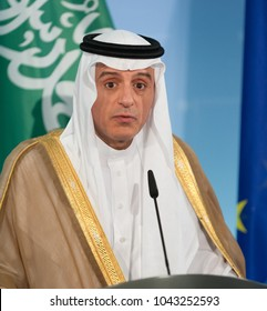 Berlin, Germany, 2017-06-07: Minister of Foreign Affairs of Saudi Arabia Adel al-Jubeir answers a question at the press conference in Berlin