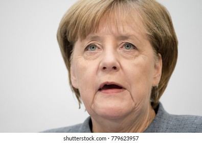 Berlin, Germany - 2017-10-09: German Chancellor Angela Merkel, CDU, answers questions at  a press conference in the head quarter of the CDU