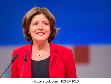 Berlin, Germany, 2017-12-07: German politician Malu Dreyer, SPD, at the party congress  (Congress Hall)
