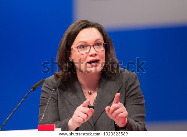 Berlin, Germany, 2017-12-07, German politician  Andrea Nahles speaks at the party conference at the congress centrum