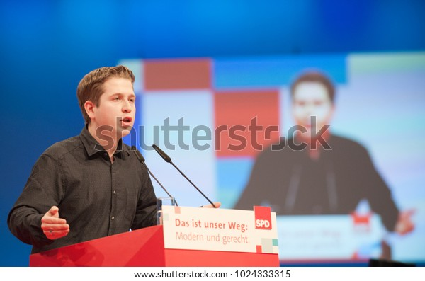 Berlin, Germany, 2017-12-07, German politician Kevin Kühnert, chairman of the youth organisation of the SPD, speaks at the party meeting