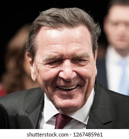 Berlin, Germany, 2017-12-18: Gerhard Schroeder former Chancellor of Germany laughs at the party meeting in Berlin