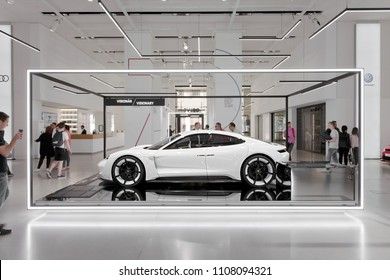 Berlin, Germany, 2018 - Porsche Mission E Concept Car Prototype in White - Electric Car Concept Study - VW DRIVE 70 years of Porsche Sports Car