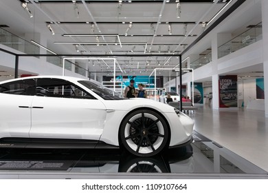 Berlin, Germany, 2018 - Porsche Mission E Concept Car Prototype in White - Electric Car Concept Study - Front side detail - VW DRIVE 70 years of Porsche Sports Car