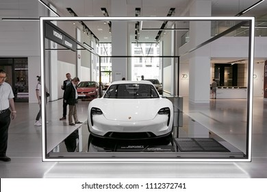 Berlin, Germany, 2018 - Porsche Mission E Concept Car Prototype in White - Electric Car Concept Study - Front view - VW DRIVE 70 years of Porsche Sports Car