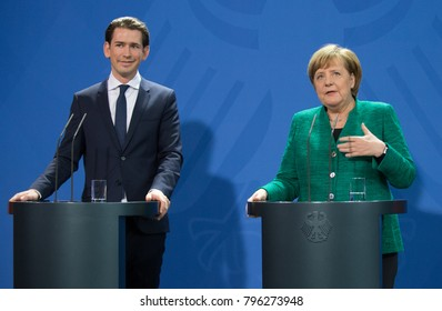 BERLIN, GERMANY - 2018-01-17: Angela Merkel, Chancellor of Germany and Sebastian Kurz, Chancellor of Austria at the press conference at the Federal German Chancellery