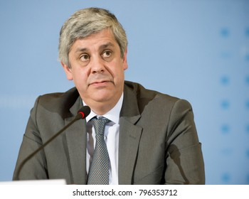 BERLIN, GERMANY - 2018-01-17: Mario Centeno, chairman of the eurogroup answers questions at a press conference in Berlin