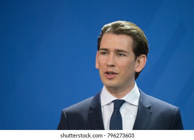 BERLIN, GERMANY - 2018-01-17: Sebastian Kurz, Chancellor of Austria at the press conference at the Federal German Chancellery