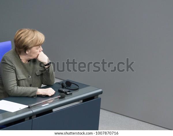 Berlin, Germany - 2018-01-22: Angela Merkel, German Chancellor at the German Bundestag
