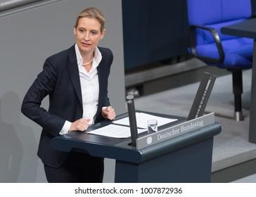 Berlin, Germany - 2018-01-22:Alice Weidel german politician of the AFD  talks at the German Bundestag