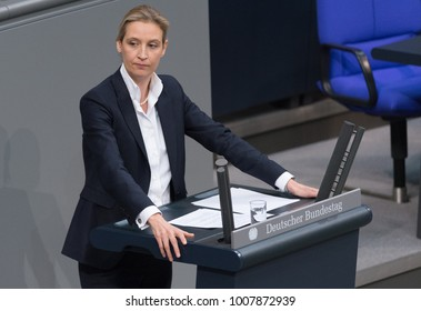 Berlin, Germany - 2018-01-22:Alice Weidel german politician of the AFD  talks at the German Bundestag
