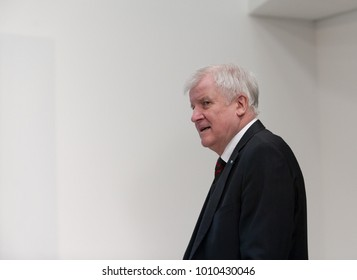 Berlin, Germany, 2018-01-26: Horst Seehofer, Prime Minister of Bavaria, arrives at the Konrad-Adenauer-Haus for coalition negotiations