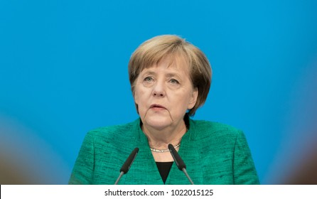 Berlin, Germany, 2018-02-07, German chancellor Angela Merkel at the headquarters of the conservative party