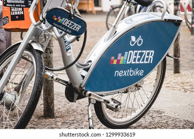 Berlin, Germany - 2018-03-10 electric bicycle sponsored by Deezer