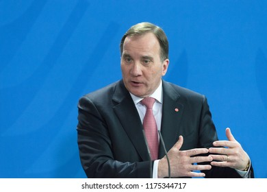 Berlin, Germany. 2018-03-16: The swedish Prime Minister Stefan Loefven answers questions at the press conference at the german chancellery