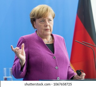 Berlin, Germany, 2018-04-12:  German Chancellor Angela Merkel answers questions at the press conference at the German Chancellery