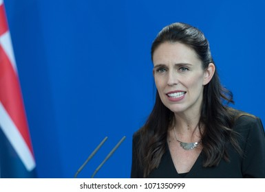 Berlin, Germany. 2018-04-17: Prime Minister of New Zealand, Jacinda Kate Laurell Ardern, answering questions at the press conference at the German Chancellery in Berlin