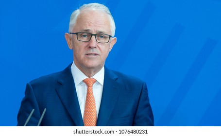 Berlin, Germany, 2018-04-23:   Prime Minister of Autralia, Malcolm Turnbull answers questions at the press conference at the German Chancellery in Berlin