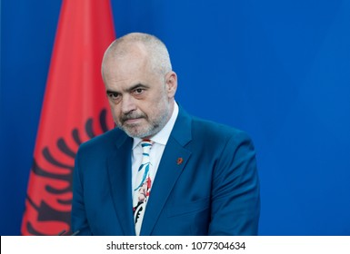 Berlin, Germany. 2018-04-25:  Prime Minister of Albania, Edi Rama answers  questions at the press conference at the German Chancellery in Berlin