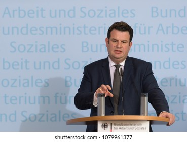 Berlin, Germany, 2018-04-27: German Minister for Employment, Hubertus Heil  answers questions at the press conference at his office in Berlin