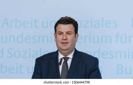 Berlin, Germany, 2018-04-27: Hubertus Heil, the German Minister for of Labour and Social answers questions at the press conference