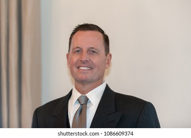 Berlin, Germany, 2018-05-08:  The new ambassedor of the USA in Germany, Richard Allen Grenell, pose for the photographers after having presented his credentials at the bellevue palace in Berlin