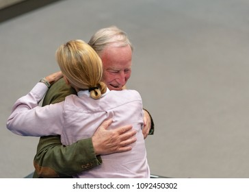 Berlin, Germany, 2018-05-16: Alexander Gaulandl, faction leader of the AFD, hugs Alice Weidel at the German Bundestag in Berlin (debate about the federal budget 2018)