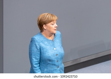 Berlin, Germany, 2018-05-16:  German Chancellor Angela Merkel takes part at the debate about the federal budget 2018 at the German Bundestag in Berlin