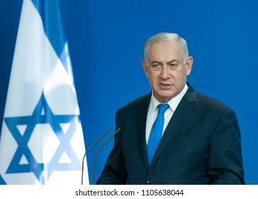 Berlin, Germany. 2018-06-04: Benjamin Netanjahu, Prime Minister of Israel answers questions at the press conference at the German Chancellery in Berlin