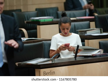 Berlin, Germany, 2018-06-08:  The Secretary of State, Sawsan Chebli takes part at the Bundesrat sesshin in Berlin
